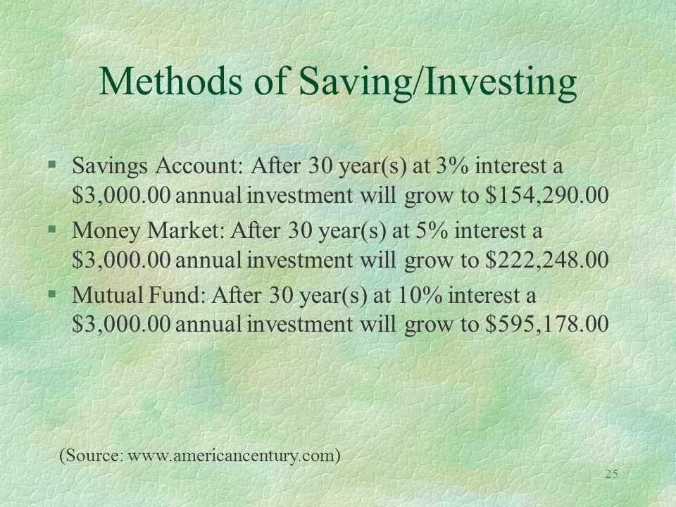 25 Methods of Saving/Investing §Savings Account: After 30 year(s) at 3% interest a $3,000.00 annual investment will grow to $154,290.00 §Money Market: