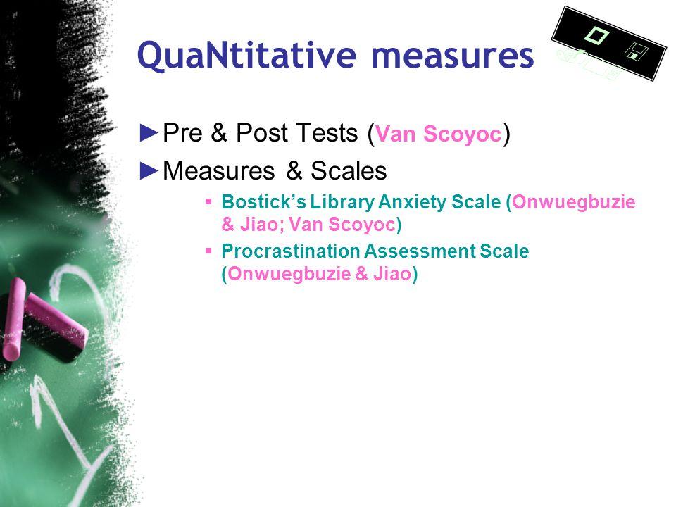 QuaNtitative measures ►Comparison studies ● Experimental and control groups ● Instructional methodologies (Colaric; Cudiner & Harmon) ● Program assess
