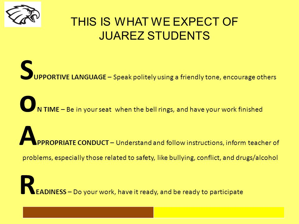 THIS IS WHAT WE EXPECT OF JUAREZ STUDENTS S UPPORTIVE LANGUAGE – Speak politely using a friendly tone, encourage others 24 o N TIME – Be in your seat when the bell rings, and have your work finished A PPROPRIATE CONDUCT – Understand and follow instructions, inform teacher of problems, especially those related to safety, like bullying, conflict, and drugs/alcohol R EADINESS – Do your work, have it ready, and be ready to participate
