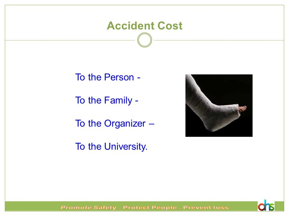 Accident Cost To the Person - To the Family - To the Organizer – To the University.