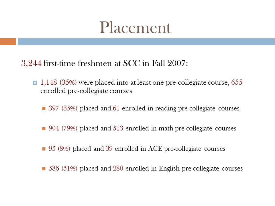 Placement 3,244 first-time freshmen at SCC in Fall 2007:  1,148 (35%) were placed into at least one pre-collegiate course, 655 enrolled pre-collegiate courses 397 (35%) placed and 61 enrolled in reading pre-collegiate courses 904 (79%) placed and 513 enrolled in math pre-collegiate courses 95 (8%) placed and 39 enrolled in ACE pre-collegiate courses 586 (51%) placed and 280 enrolled in English pre-collegiate courses