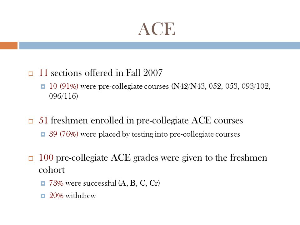 Math  87 sections offered in Fall 2007  48 (55%) were pre-collegiate courses (N05, N06, N48, 060, 080)  686 freshmen enrolled in pre-collegiate math courses  513 (75%) were placed by testing into pre-collegiate courses  691 pre-collegiate math grades were given to the freshmen cohort  52% were successful (A, B, C, Cr)  22% withdrew