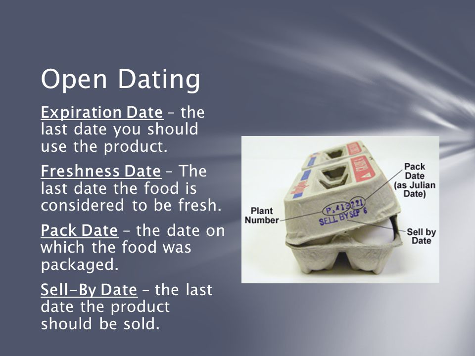 Open Dating Expiration Date – the last date you should use the product. Freshness Date – The last date the food is considered to be fresh. Pack Date –