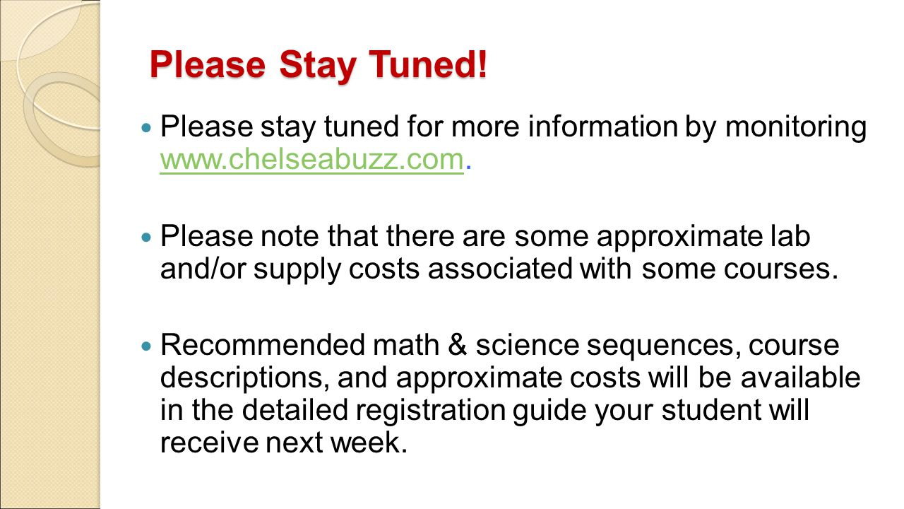 Please Stay Tuned! Please stay tuned for more information by monitoring www.chelseabuzz.com. www.chelseabuzz.com Please note that there are some appro