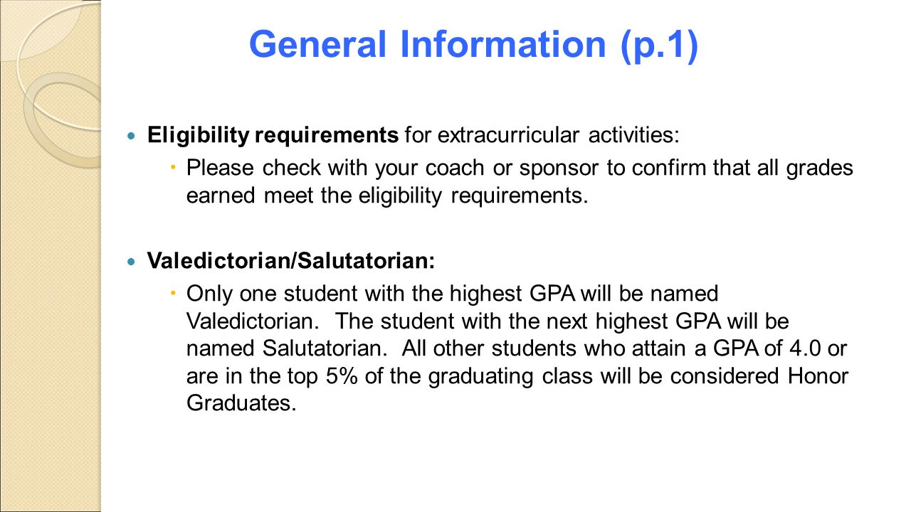 Graduation Requirements Rising 9 th graders (p.2)  4 English  4 History  4 Math  4 Science  1 Physical Education  ½ Health  1 Career Preparedness (Computer)  3 CTA Electives (Career Technology, Fine Arts, or Foreign Language)  2 ½ Additional Credits = 24 credits Alabama One Diploma PLAN (10 th )/ACT (11 th )/WorkKeys (12 th ): Required PSAT is an optional test & it is recommended that students taking honors courses in the 9 th -11 th grades sign up for it.