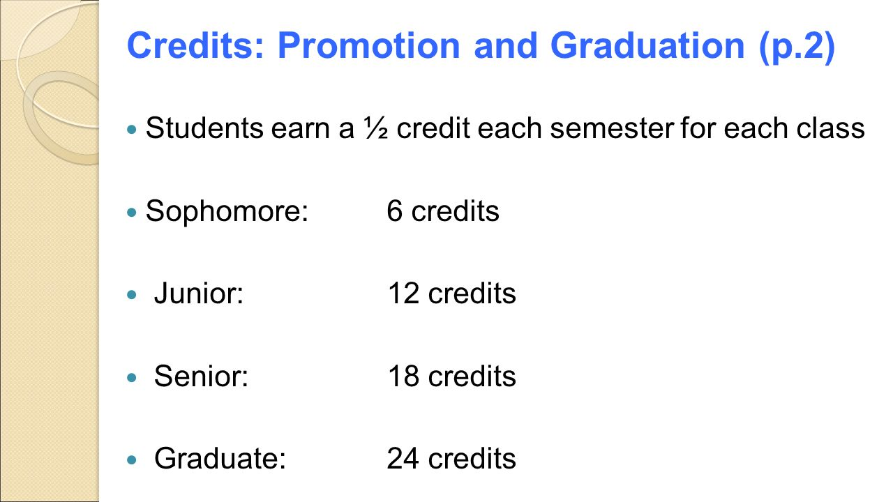 Credits: Promotion and Graduation (p.2) Students earn a ½ credit each semester for each class Sophomore:6 credits Junior: 12 credits Senior: 18 credit