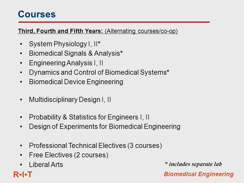 RITRIT Biomedical Engineering System Physiology I, II* Biomedical Signals & Analysis* Engineering Analysis I, II Dynamics and Control of Biomedical Systems* Biomedical Device Engineering Multidisciplinary Design I, II Probability & Statistics for Engineers I, II Design of Experiments for Biomedical Engineering Professional Technical Electives (3 courses) Free Electives (2 courses) Liberal Arts Third, Fourth and Fifth Years: (Alternating courses/co-op) Courses * includes separate lab