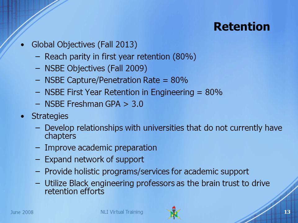 June 2008 NLI Virtual Training13 Global Objectives (Fall 2013) –Reach parity in first year retention (80%) –NSBE Objectives (Fall 2009) –NSBE Capture/Penetration Rate = 80% –NSBE First Year Retention in Engineering = 80% –NSBE Freshman GPA > 3.0 Strategies –Develop relationships with universities that do not currently have chapters –Improve academic preparation –Expand network of support –Provide holistic programs/services for academic support –Utilize Black engineering professors as the brain trust to drive retention efforts Retention