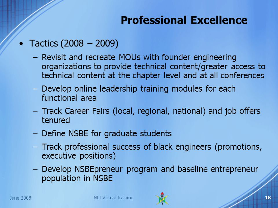 June 2008 NLI Virtual Training18 Professional Excellence Tactics (2008 – 2009) –Revisit and recreate MOUs with founder engineering organizations to provide technical content/greater access to technical content at the chapter level and at all conferences –Develop online leadership training modules for each functional area –Track Career Fairs (local, regional, national) and job offers tenured –Define NSBE for graduate students –Track professional success of black engineers (promotions, executive positions) –Develop NSBEpreneur program and baseline entrepreneur population in NSBE