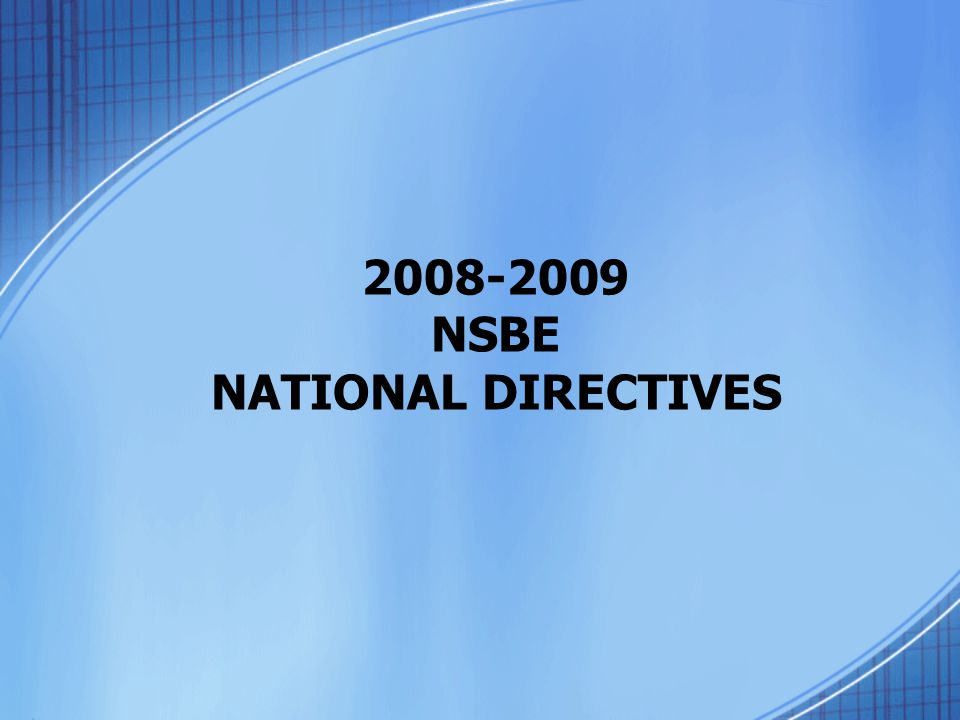 2008-2009 NSBE NATIONAL DIRECTIVES