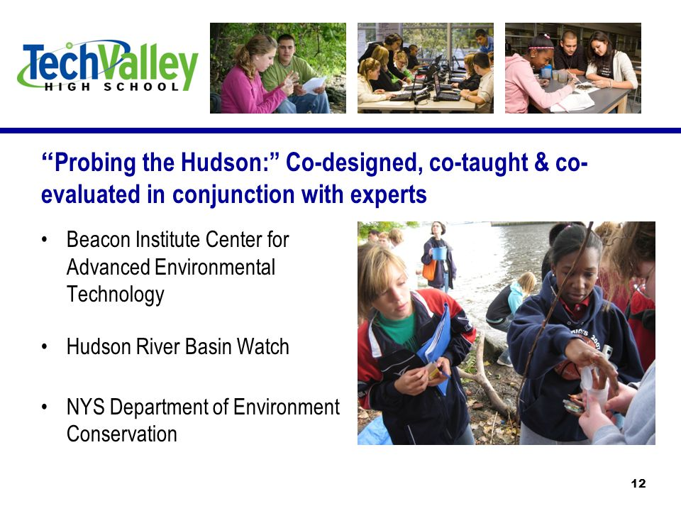 Beacon Institute Center for Advanced Environmental Technology Hudson River Basin Watch NYS Department of Environment Conservation Probing the Hudson: Co-designed, co-taught & co- evaluated in conjunction with experts 12