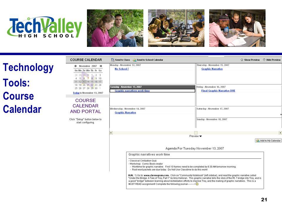 Technology Tools: Course Calendar 21