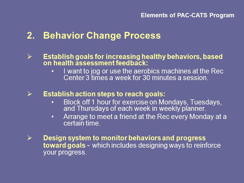 2.Behavior Change Process  Establish goals for increasing healthy behaviors, based on health assessment feedback: I want to jog or use the aerobics m
