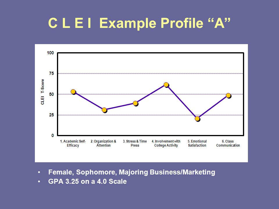 C L E I Example Profile A Female, Sophomore, Majoring Business/Marketing GPA 3.25 on a 4.0 Scale