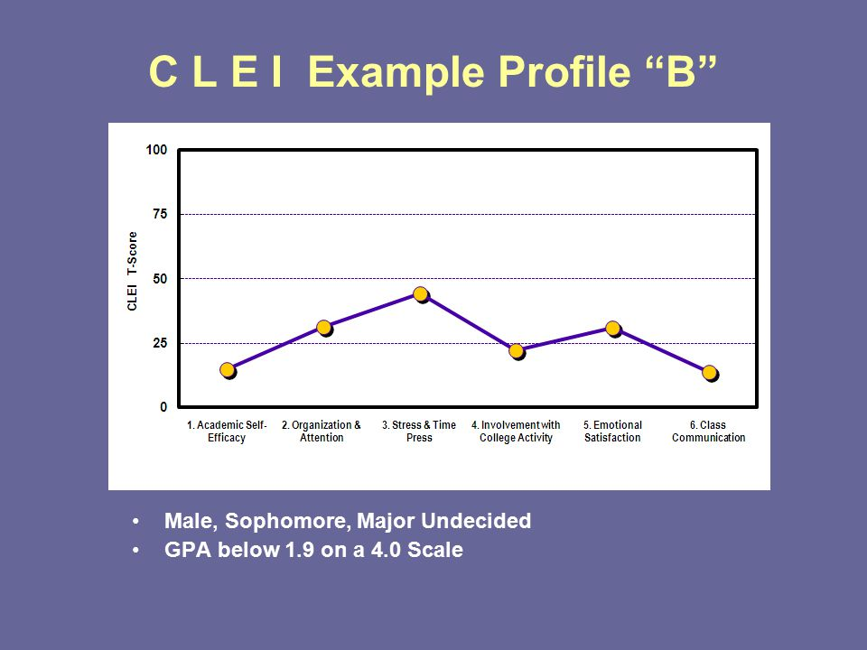 C L E I Example Profile B Male, Sophomore, Major Undecided GPA below 1.9 on a 4.0 Scale