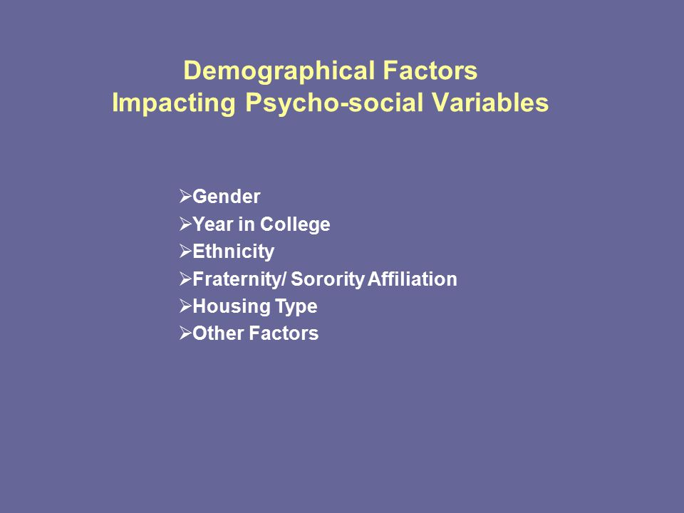 Demographical Factors Impacting Psycho-social Variables  Gender  Year in College  Ethnicity  Fraternity/ Sorority Affiliation  Housing Type  Other Factors