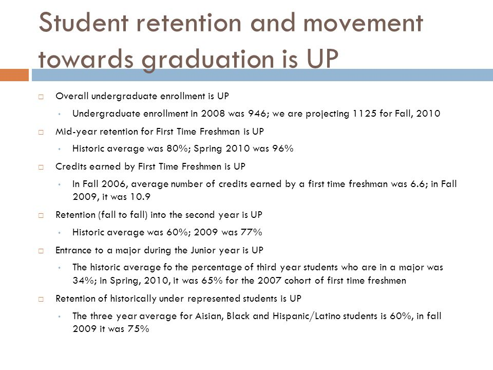 Student retention and movement towards graduation is UP  Overall undergraduate enrollment is UP Undergraduate enrollment in 2008 was 946; we are proj