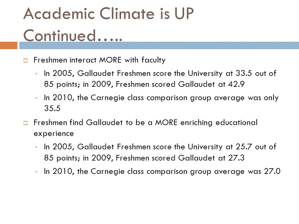 Academic Climate is UP Continued…..  Freshmen interact MORE with faculty In 2005, Gallaudet Freshmen score the University at 33.5 out of 85 points; i