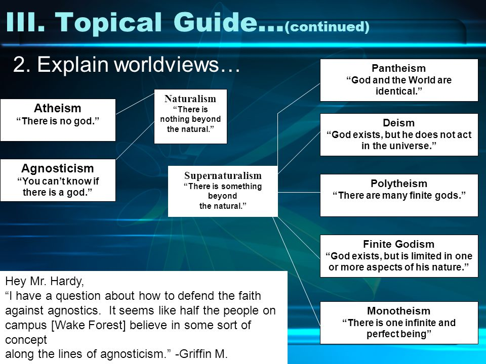 III. Topical Guide… (continued) 2. Explain worldviews… Hey Mr.