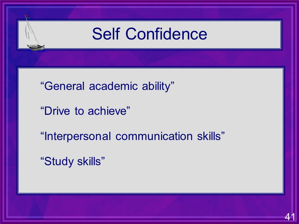 41 Self Confidence General academic ability Drive to achieve Interpersonal communication skills Study skills