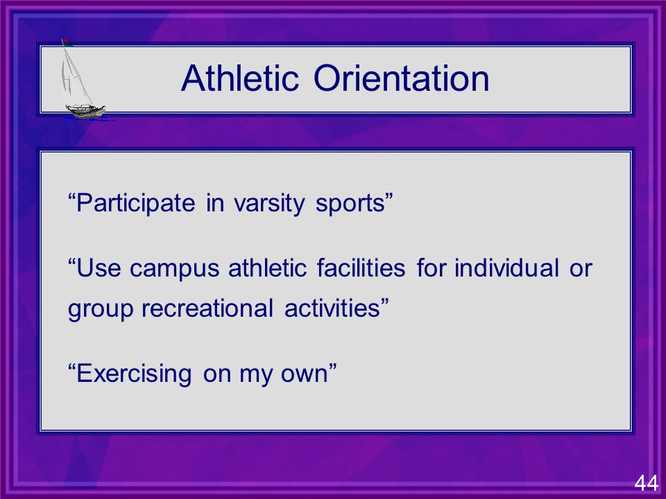 44 Athletic Orientation Participate in varsity sports Use campus athletic facilities for individual or group recreational activities Exercising on my own