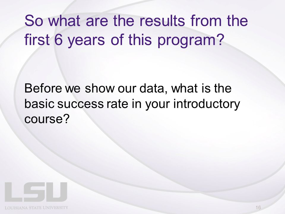 So what are the results from the first 6 years of this program.