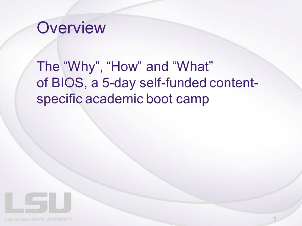 The Why , How and What of BIOS, a 5-day self-funded content- specific academic boot camp Overview 3