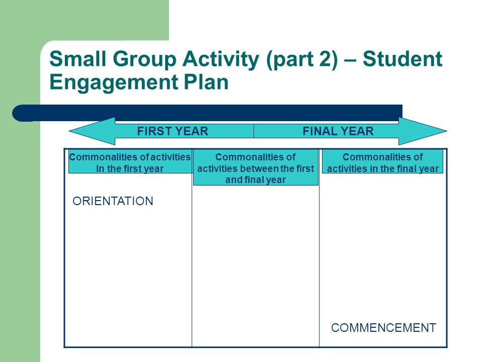 Small Group Activity (part 2) – Student Engagement Plan Commonalities of activities between the first and final year Commonalities of activities in the final year FIRST YEARFINAL YEAR Commonalities of activities In the first year ORIENTATION COMMENCEMENT