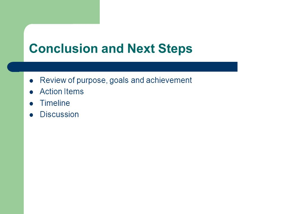 Conclusion and Next Steps Review of purpose, goals and achievement Action Items Timeline Discussion