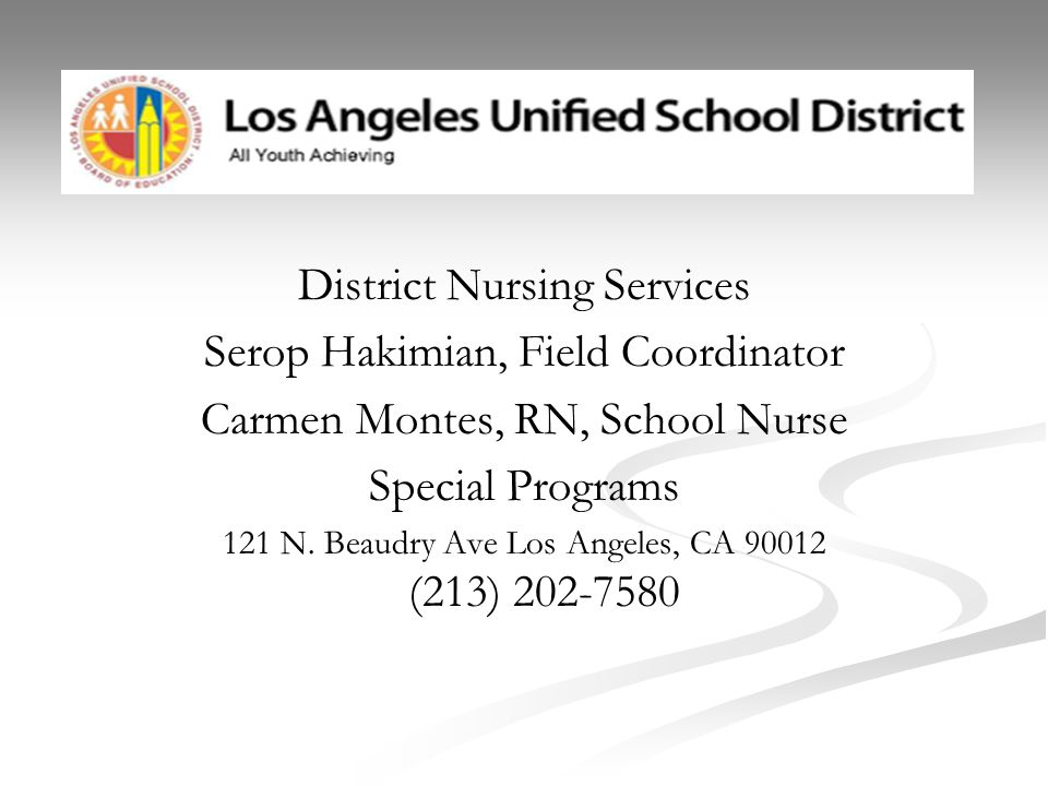 District Nursing Services Serop Hakimian, Field Coordinator Carmen Montes, RN, School Nurse Special Programs 121 N. Beaudry Ave Los Angeles, CA 90012