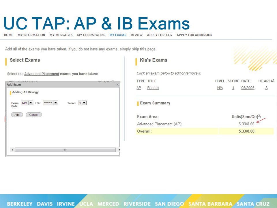 UC TAP: AP & IB Exams