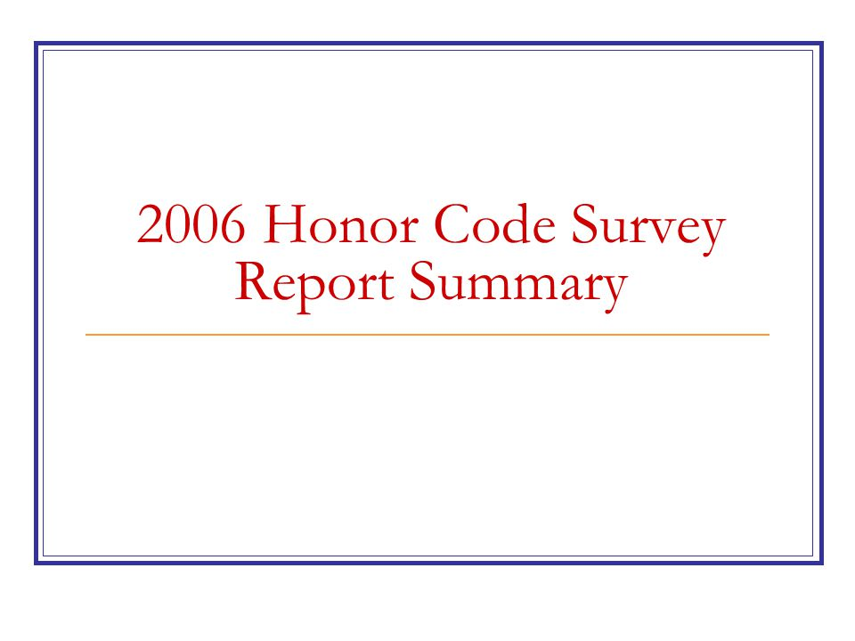 2006 HC SURVEY REPORT DATA Paper Submissions: 47.1% Online Submissions: 52.9% Freshmen: 28.0% Sophomores: 25.1% Juniors: 21.5% Seniors: 25.5% Total Response Rate: 82.2% Male: 70.3% Female: 29.7% On-Campus : 72.6% Off-Campus : 27.4%