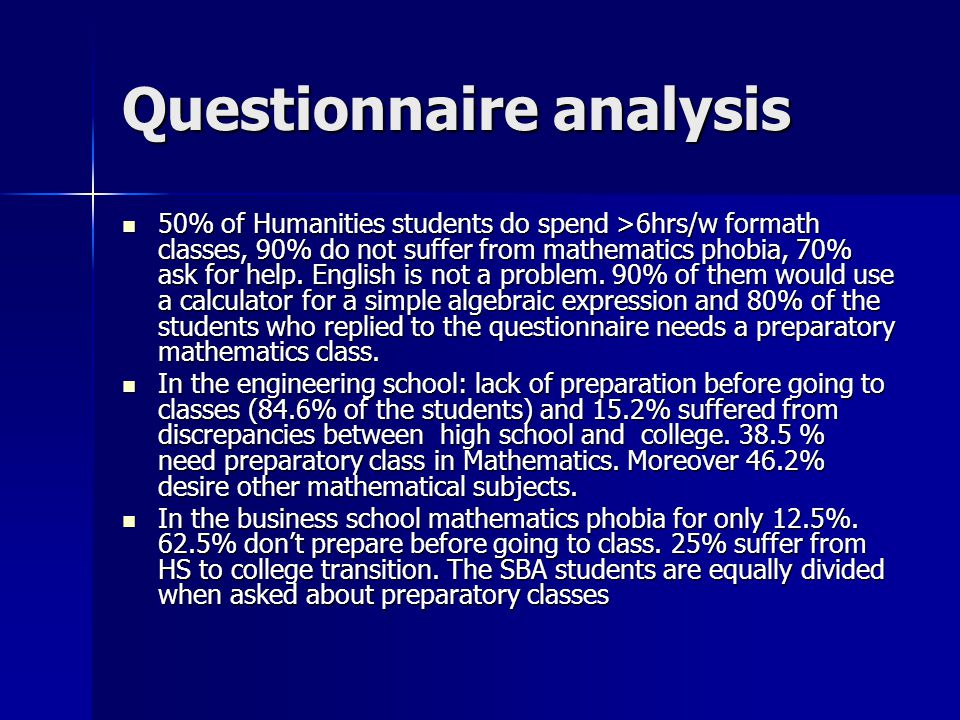 Questionnaire analysis 50% of Humanities students do spend >6hrs/w formath classes, 90% do not suffer from mathematics phobia, 70% ask for help.