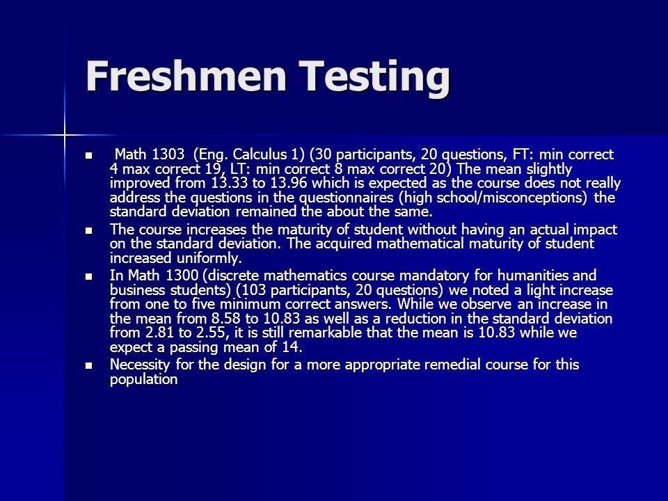 Freshmen Testing Math 1303 (Eng.