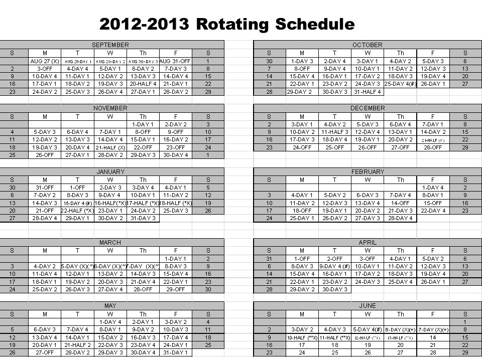 2012-2013 Rotating Schedule