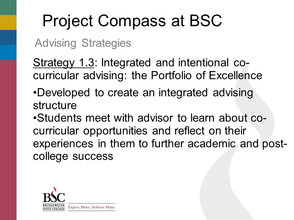 Project Compass at BSC Advising Strategies Strategy 1.3: Integrated and intentional co- curricular advising: the Portfolio of Excellence Developed to create an integrated advising structure Students meet with advisor to learn about co- curricular opportunities and reflect on their experiences in them to further academic and post- college success