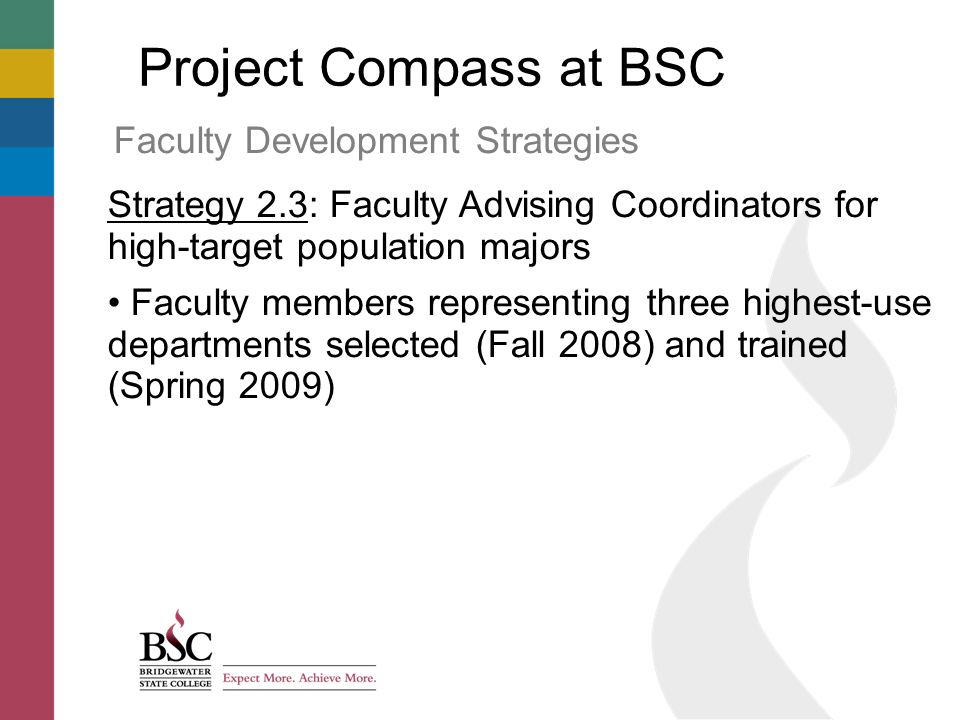 Project Compass at BSC Faculty Development Strategies Strategy 2.3: Faculty Advising Coordinators for high-target population majors Faculty members representing three highest-use departments selected (Fall 2008) and trained (Spring 2009)
