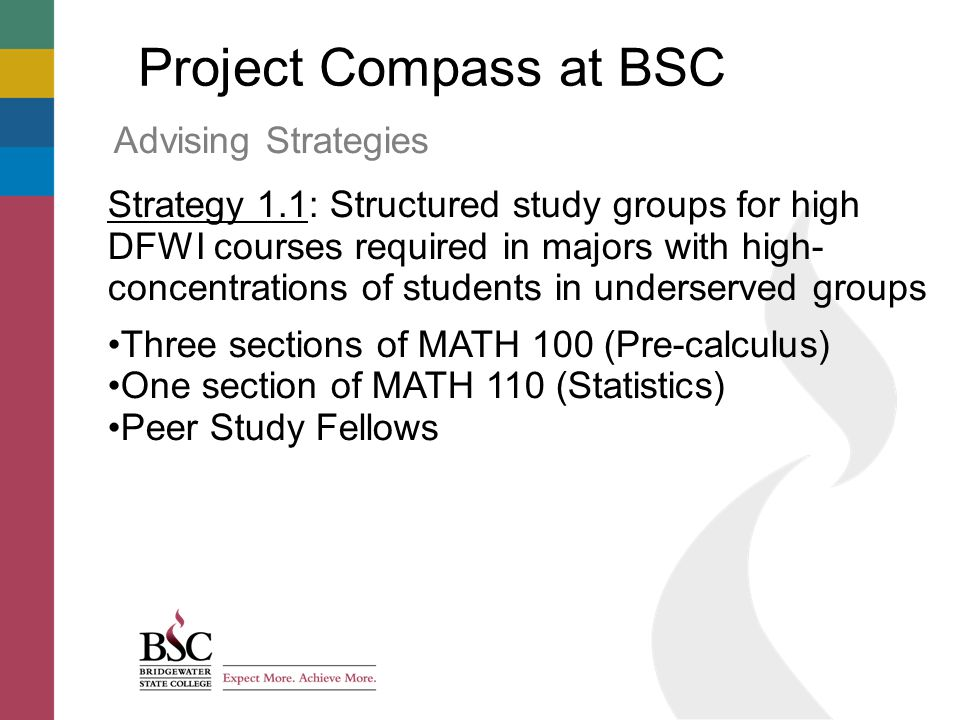 Project Compass at BSC Advising Strategies Strategy 1.1: Structured study groups for high DFWI courses required in majors with high- concentrations of students in underserved groups Three sections of MATH 100 (Pre-calculus) One section of MATH 110 (Statistics) Peer Study Fellows