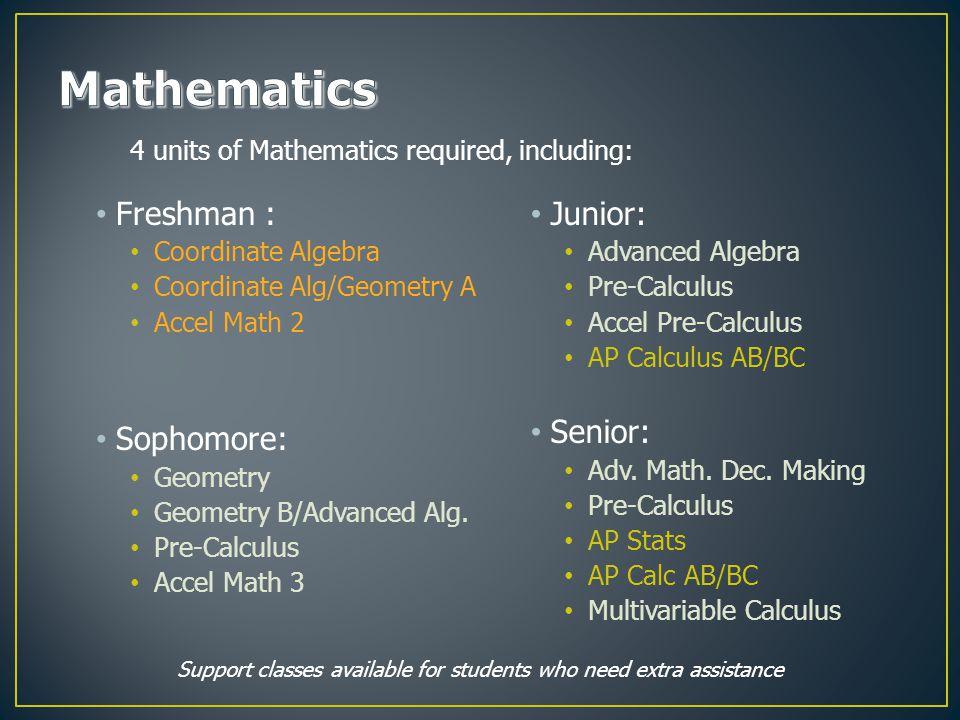 Freshman : Coordinate Algebra Coordinate Alg/Geometry A Accel Math 2 Sophomore: Geometry Geometry B/Advanced Alg.