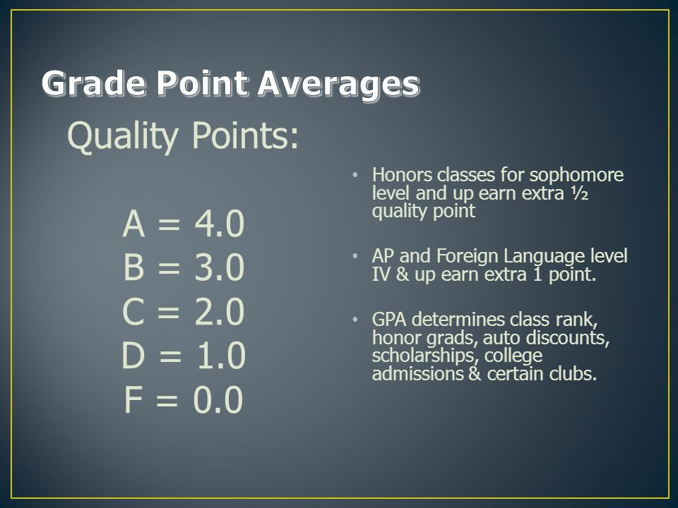 Quality Points: A = 4.0 B = 3.0 C = 2.0 D = 1.0 F = 0.0 Honors classes for sophomore level and up earn extra ½ quality point AP and Foreign Language level IV & up earn extra 1 point.