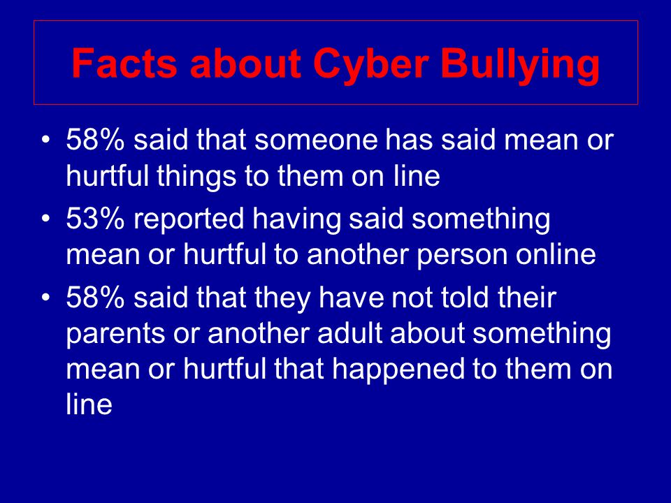 Facts about Cyber Bullying 58% said that someone has said mean or hurtful things to them on line 53% reported having said something mean or hurtful to another person online 58% said that they have not told their parents or another adult about something mean or hurtful that happened to them on line