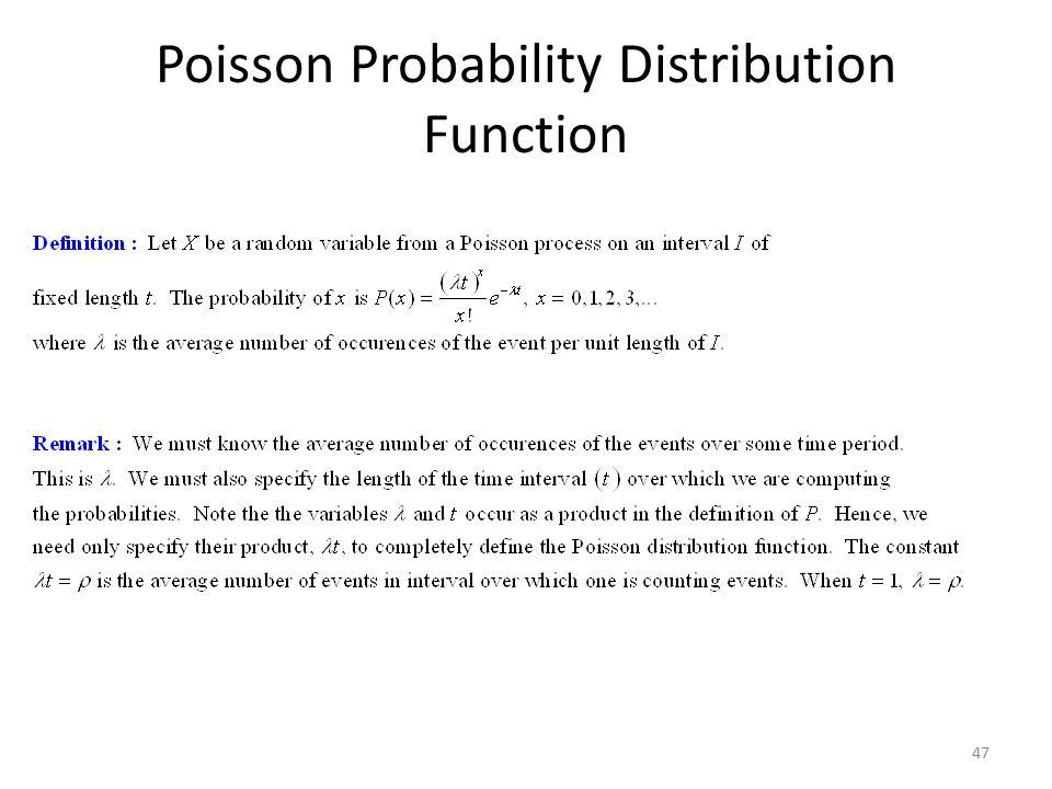 47 Poisson Probability Distribution Function