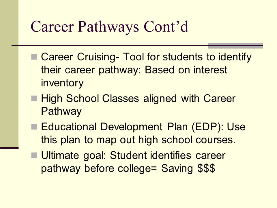 Career Pathways Cont'd Career Cruising- Tool for students to identify their career pathway: Based on interest inventory High School Classes aligned with Career Pathway Educational Development Plan (EDP): Use this plan to map out high school courses.