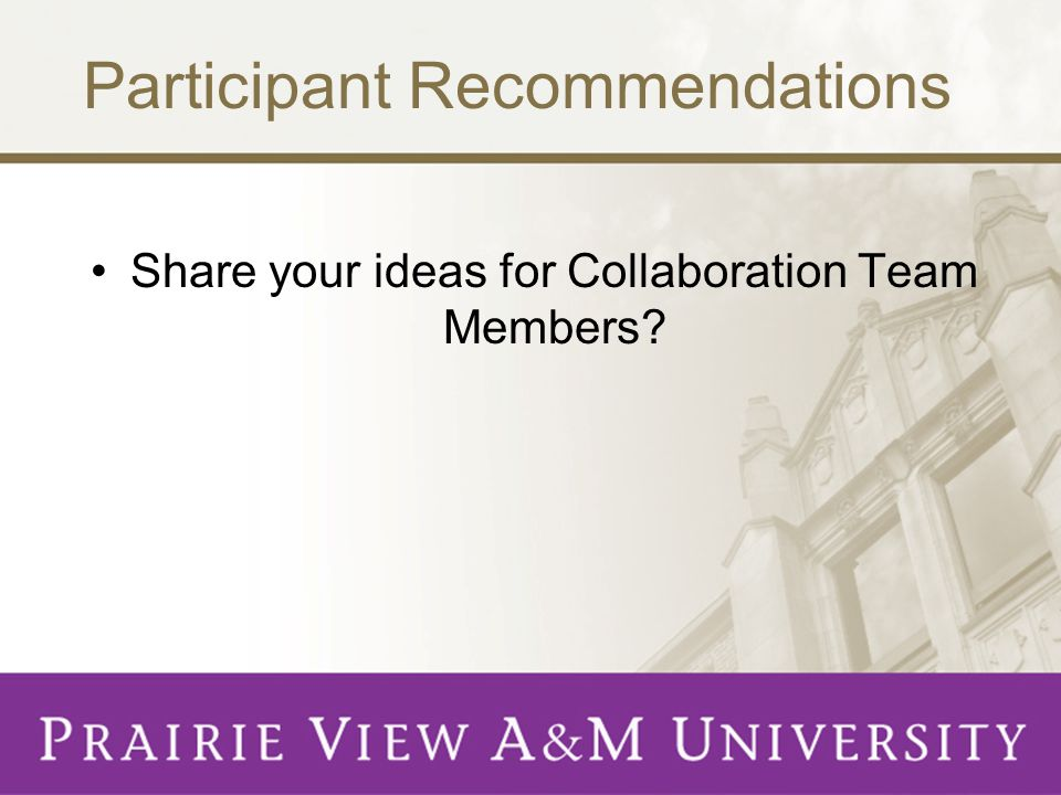 Participant Recommendations Share your ideas for Collaboration Team Members?