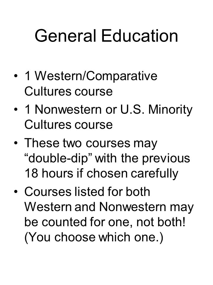 General Education 1 Western/Comparative Cultures course 1 Nonwestern or U.S.