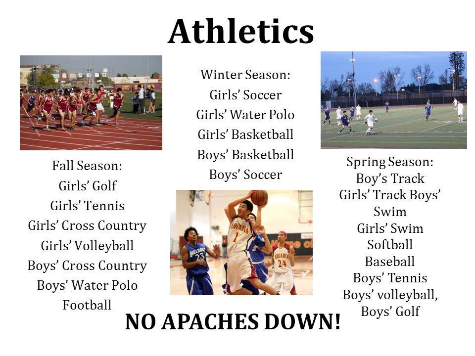 Athletics Fall Season: Girls' Golf Girls' Tennis Girls' Cross Country Girls' Volleyball Boys' Cross Country Boys' Water Polo Football Winter Season: G