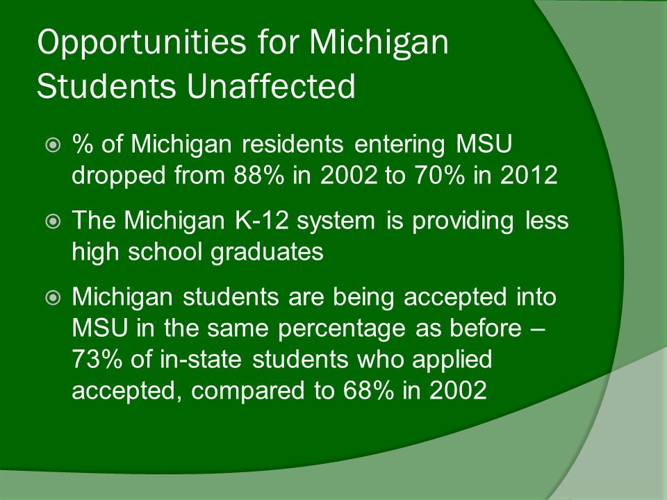 Opportunities for Michigan Students Unaffected  % of Michigan residents entering MSU dropped from 88% in 2002 to 70% in 2012  The Michigan K-12 system is providing less high school graduates  Michigan students are being accepted into MSU in the same percentage as before – 73% of in-state students who applied accepted, compared to 68% in 2002