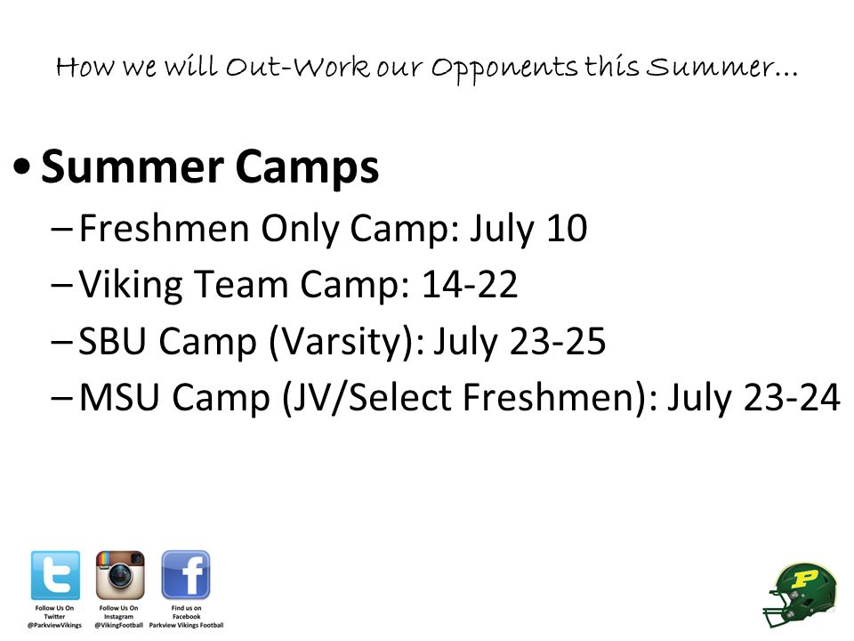 How we will Out-Work our Opponents this Summer… Summer Camps –Freshmen Only Camp: July 10 –Viking Team Camp: 14-22 –SBU Camp (Varsity): July 23-25 –MSU Camp (JV/Select Freshmen): July 23-24