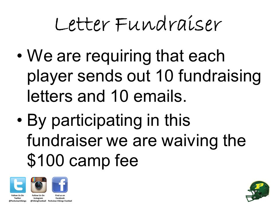 Letter Fundraiser We are requiring that each player sends out 10 fundraising letters and 10 emails.