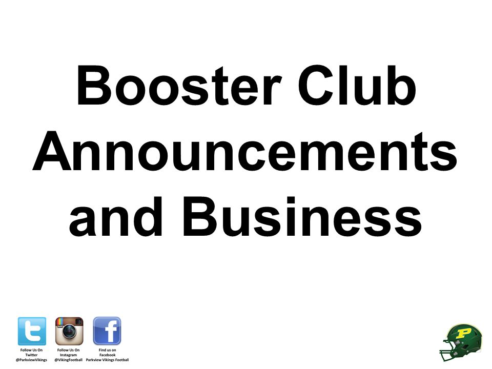Booster Club Announcements and Business